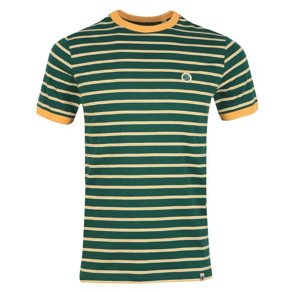 Pretty Green Mens Green Striped T-Shirt main image