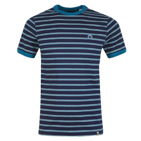 Pretty Green Mens Blue Striped T-Shirt main image