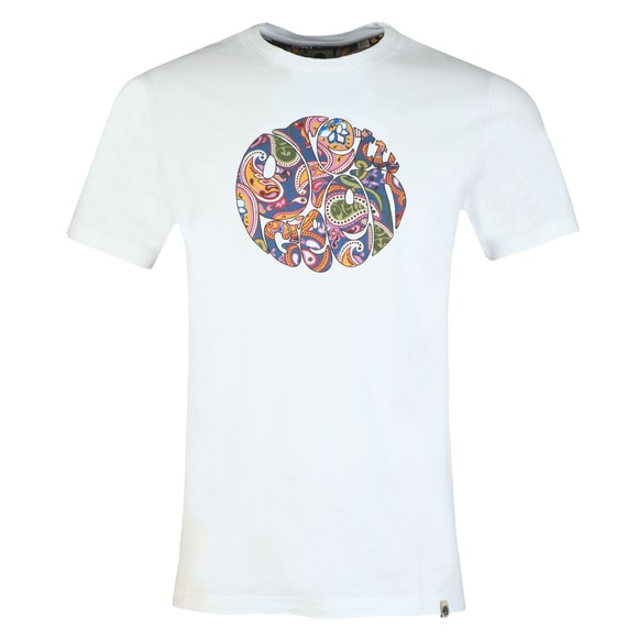 Pretty Green Mens White Paisley Print Logo T-Shirt