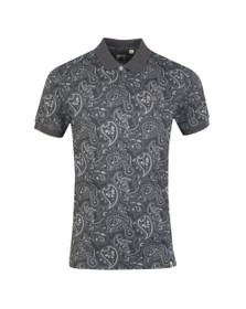 Pretty Green Mens Black Paisley Print Polo