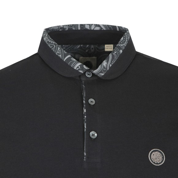 Pretty Green Mens Black Paisley Printed Collar Polo main image