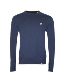 Pretty Green Mens Blue Crew Neck Knitted Jumper