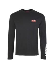 HUGO Mens Black Dyderabad Long Sleeve T-Shirt