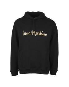 Love Moschino Mens Black Metallic Script Logo Hoody