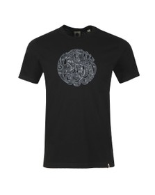 Pretty Green Mens Black Paisley Applique Tee