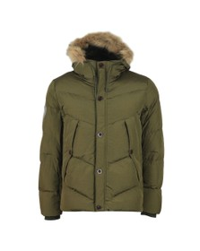 Pretty Green Mens Green Quilted Hooded Jacket
