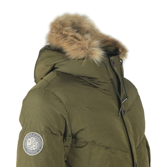 Pretty Green Mens Green Quilted Hooded Jacket main image