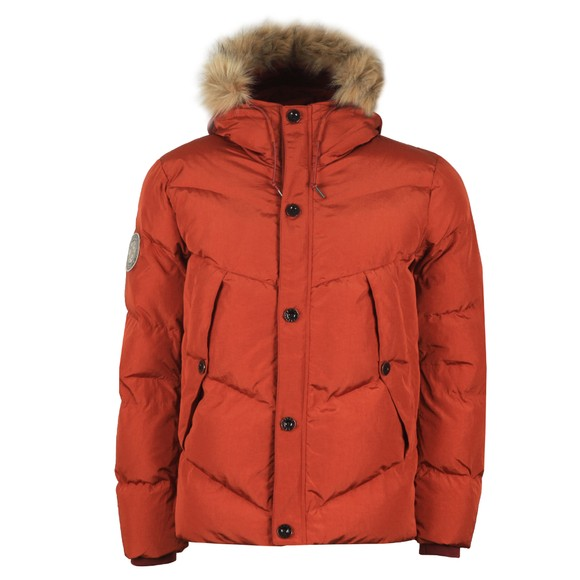 Pretty Green Mens Orange Quilted Hooded Jacket main image