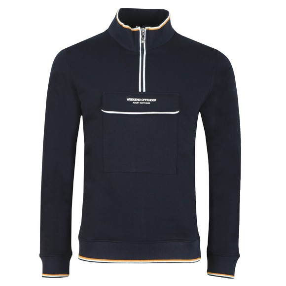 Weekend Offender Mens Blue Zocalo Half Zip Sweat