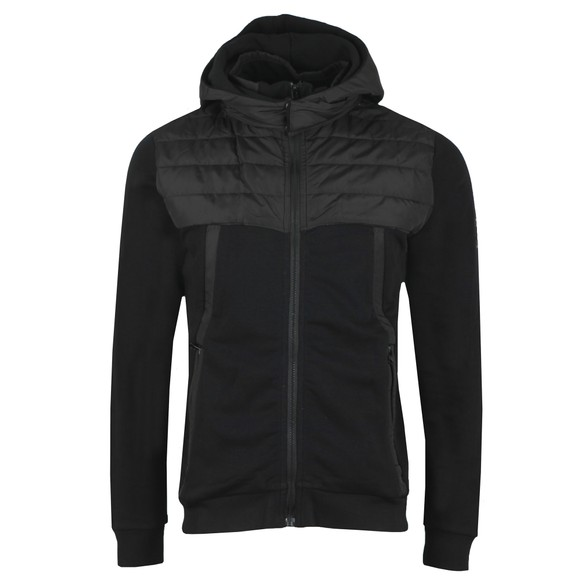 Weekend Offender Mens Black Camerena Mixed Fabric Hoodie
