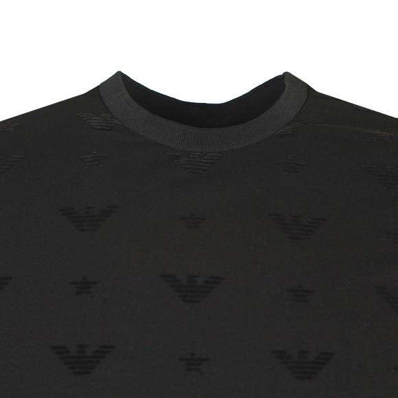 Emporio Armani Mens Black Allover Logo Pique T Shirt main image