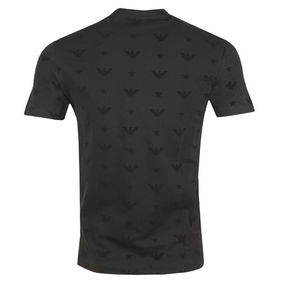 Emporio Armani Mens Black Allover Logo Pique T-Shirt main image