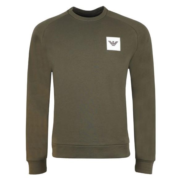 Emporio Armani Mens Green Square Logo Sweatshirt