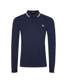 Fred Perry Mens Blue L/S Tipped Polo