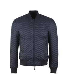 Emporio Armani Mens Blue Quilted Reversible Bomber Jacket