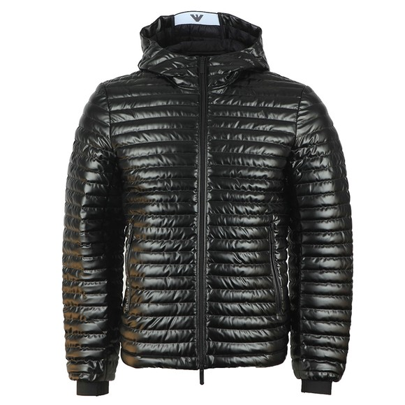Emporio Armani Mens Black Hooded Down Jacket