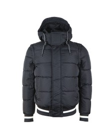 Emporio Armani Mens Blue Hooded Down Bomber