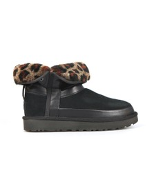 Ugg Womens Black Classic Leopard Lined Bow Boot