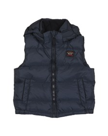 Paul & Shark Cadets Boys Blue Hooded Down Gilet