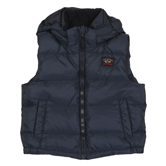 Paul & Shark Cadets Boys Blue Hooded Down Gilet main image