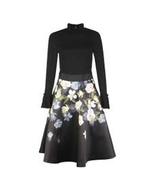 Ted Baker Womens Black Nerida Opal Printed Full Skater Dress
