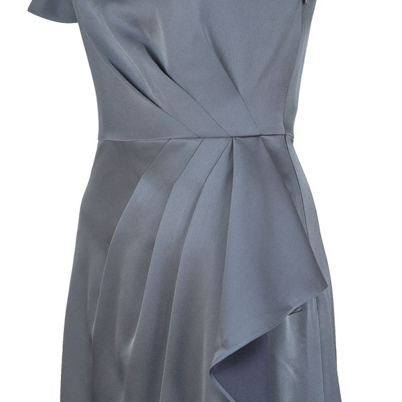 Ted Baker Womens Grey Ridah Waterfall Skirt One Shoulder Dress