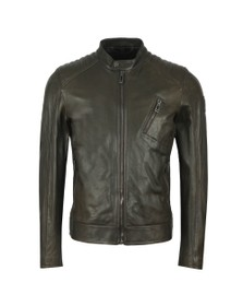 Belstaff Mens Green V  Racer Leather Blouson