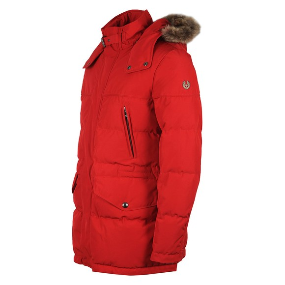 Belstaff Mens Red Traverse Parka With Fur