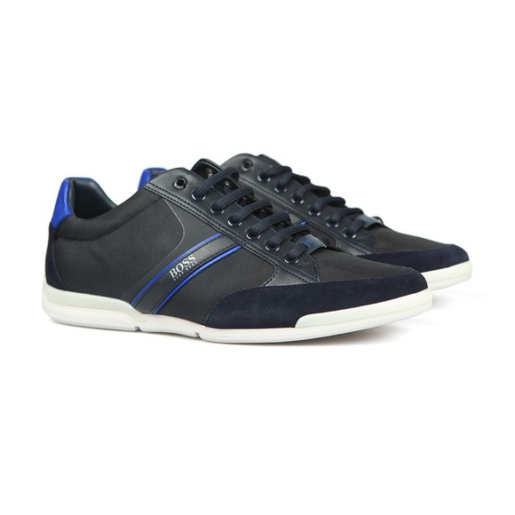 BOSS Mens Blue Athleisure Saturn Low Suede Mix Trainer main image