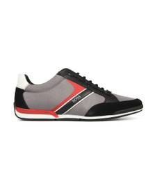 BOSS Mens Grey Athleisure Saturn Low Suede Mix Trainer