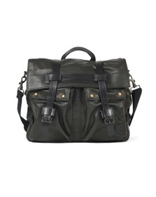 Belstaff Mens Black Leather Colonial Messenger Bag
