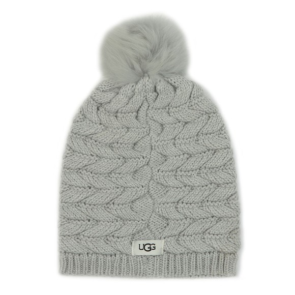 Ugg Womens Grey Cable Pom Hat main image