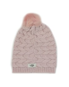 Ugg Womens Pink Cable Pom Hat