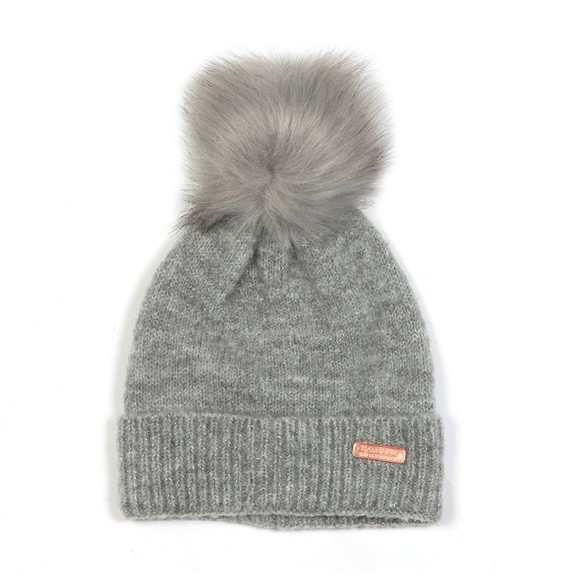 Barbour International Womens Grey Sparkle Knit Beanie