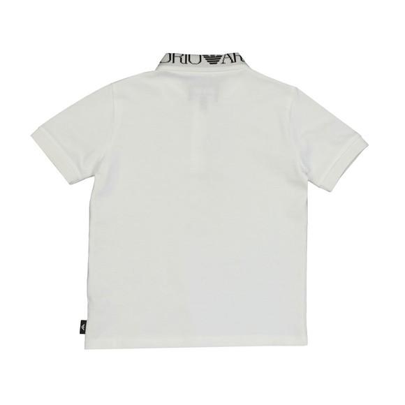 Emporio Armani Boys White Logo Collar Polo Shirt main image