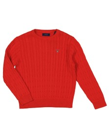Gant Boys Orange Boys Cotton Cable Crew Jumper
