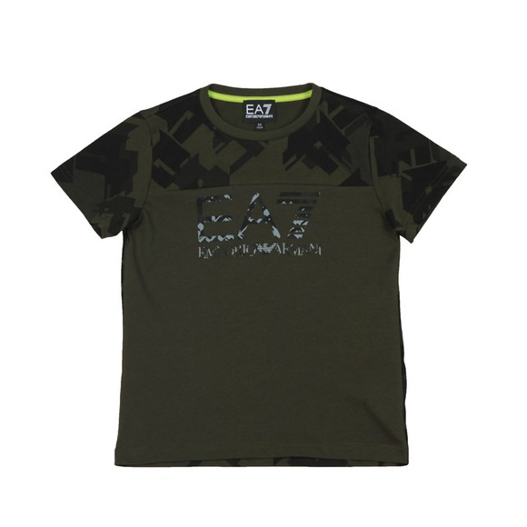 EA7 Emporio Armani Boys Green Camo Logo T-Shirt