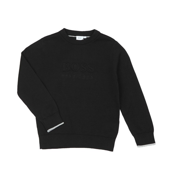 BOSS Boys Black Large Logo Jumper