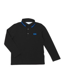 BOSS Boys Black J25E35 Tipped Long Sleeve Polo Shirt