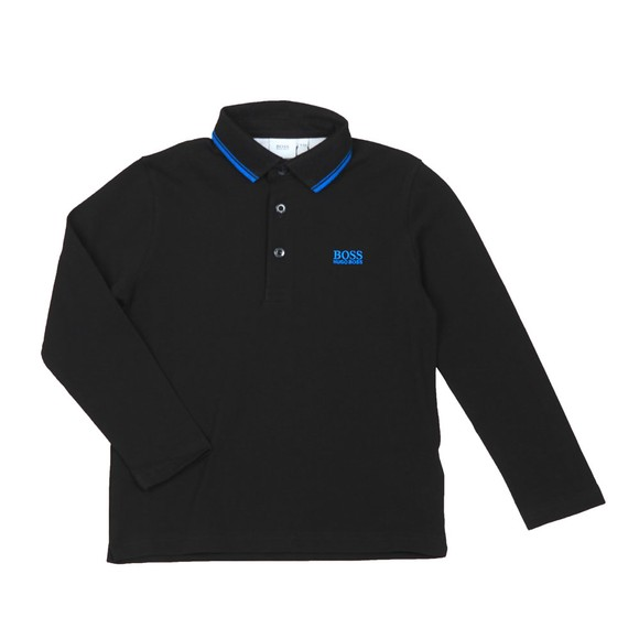 BOSS Boys Black J25E35 Tipped Long Sleeve Polo Shirt main image