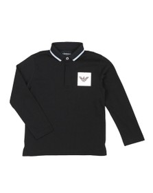 Emporio Armani Boys Black Square Logo Polo Shirt