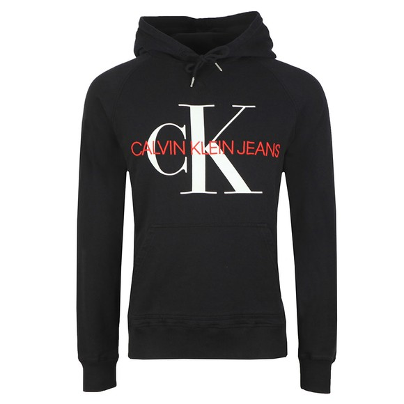Calvin Klein Jeans Mens Black Washed Monogram Hoodie main image