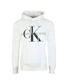 Calvin Klein Jeans Mens White Washed Monogram Hoodie