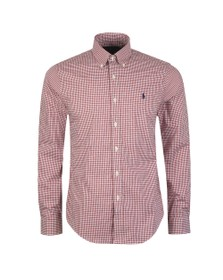 Polo Ralph Lauren Mens Red Slim Fit Stretch Gingham Shirt