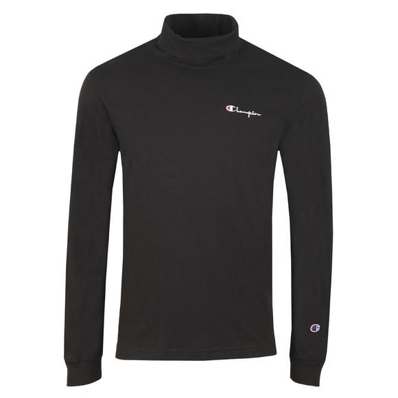 Champion Reverse Weave Mens Black Long Sleeve High Neck T-Shirt