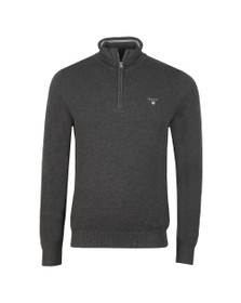 Gant Mens Grey Cotton Pique Half Zip Jumper