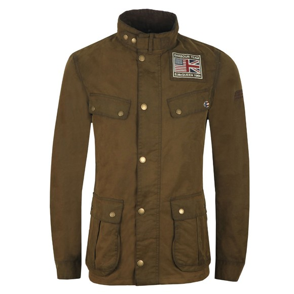 Barbour Int. Steve McQueen Mens Green Lester Washed Wax Jacket main image
