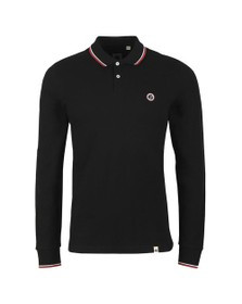 Pretty Green Mens Black L/S Tipped Polo
