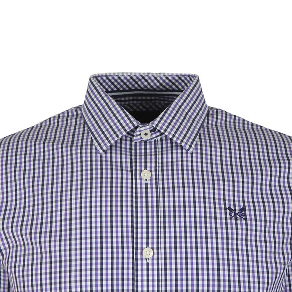 Crew Clothing Company Mens Purple Classic Tattersall Shirt main image
