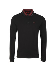 HUGO Mens Black Donol201 Long Sleeve Polo Shirt